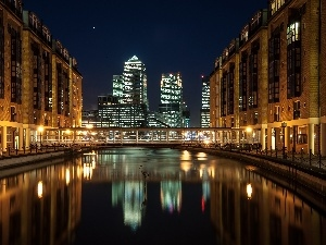 London, Town, Night, River, England, Houses
