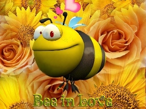 Bee, LOVE, Flowers