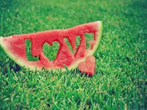 grass, LOVE, watermelon