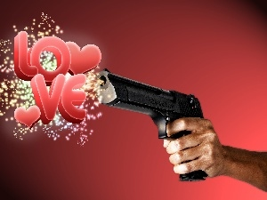LOVE, Gun, hand, Weapons