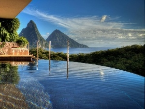 Saint Lucia, Mountains, sea, house, Caribbean, Pool