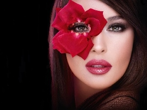 make-up, Colourfull Flowers, Women