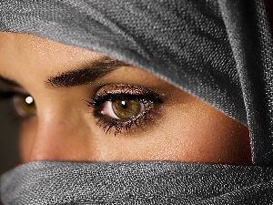 make-up, Eyes, Women, shawl