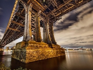 Manhattan Bridge, USA, River