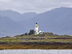 maritime, Lighthouse, Mountains, coast