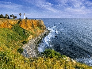 maritime, Lighthouse, sea, Cliffs