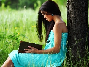 Meadow, trees, girl, Book