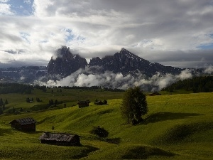 medows, green ones, Mountains, Houses, clouds