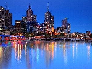 Melbourne, River, skyscrapers, Australia, bridge