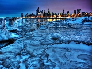 Michigan, night, lake, panorama, Icecream, Chicago