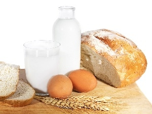 eggs, milk, bread