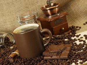 mill, grains, Cup, chocolate, coffee