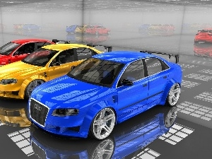 Mirror, reflections, Audi A4, TUNING