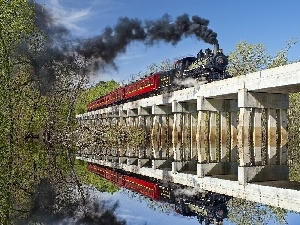 Mirror, reflection, locomotive, bridge