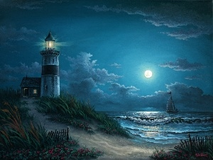 moon, Night, Lighthouses, sea