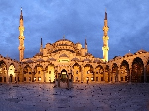 mosque, blue, Turkey, courtyard, Istanbul