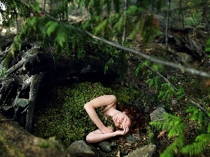 ##, the sleeping, forest, moss, Women