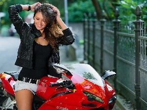 Motorbike, girl, Lovely, smiling