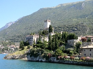 Castle, Mountains, lake
