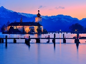 Mountains, Church, bridge, lake, Dusk, Island