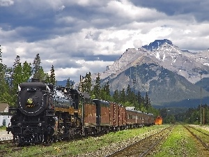 Mountains, Wagons, engine, ##
