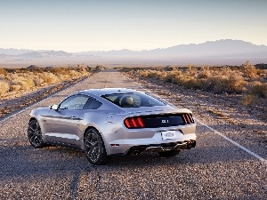 Mountains, Way, Ford, Mustang