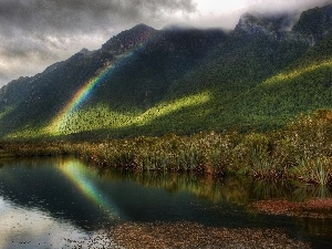 Mountains, Great Rainbows, lake, Rain