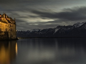 Mountains, lake, Floodlit, Night, Castle
