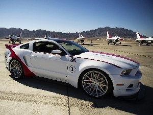 Mountains, airport, Ford, Planes, Mustang