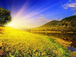 Mountains, medows, rays, River, sun