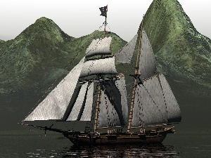 Mountains, water, sailing vessel