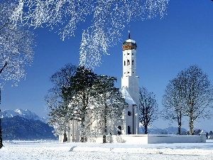 Mountains, Church, trees, snow, viewes