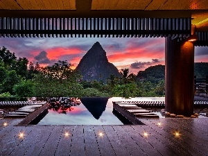 mountains, View, terrace, Pool