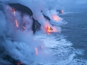 Mountains, sea, volcano, Lava