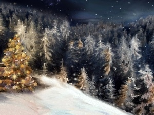 Mountains, christmas tree, Spruces, winter, forest