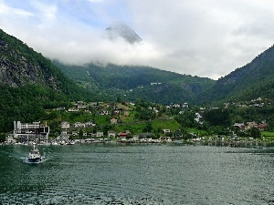 Mountains, lake, Town, Norway, woods, Geiranger