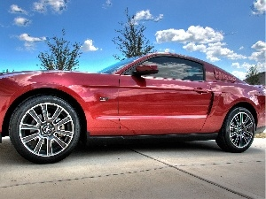 Sky, Mustang GT, square, Red, clouds, Ford