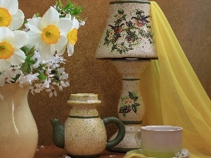 narcissus, cup, Jugs, textile, wine glass