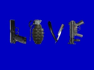 navy blue, Gun, text, razor, LOVE