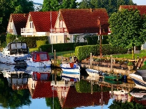 Netherlands, River, Houses, Boats