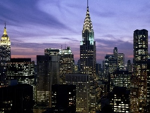 New York, Floodlit, panorama, town