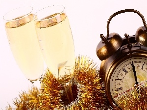 New, Champagne, Clock, year, glasses