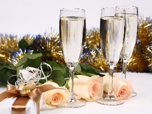 New, Champagne, roses, year, glasses