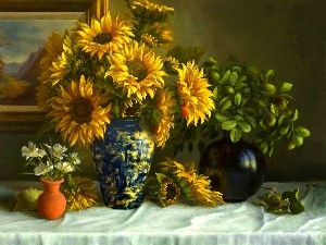 Nice sunflowers, ornamental, Vase