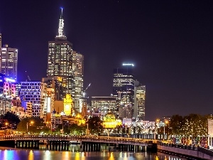 Night, Town, Australia, Melbourne