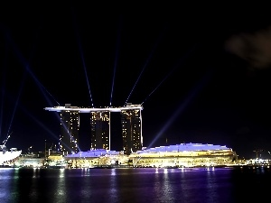 night, panorama, Singapur, Marina Bay Sands