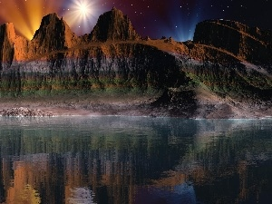 Night, reflection, canyon, lake