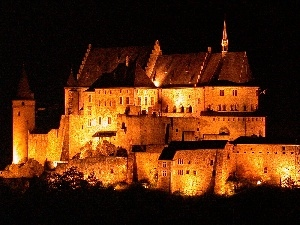 Castle, night, Luxembourg