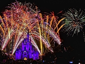 night, Paris, Disneyland, fireworks