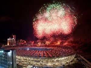 Night, Stadium, national, Ukraine, fireworks, Kiev